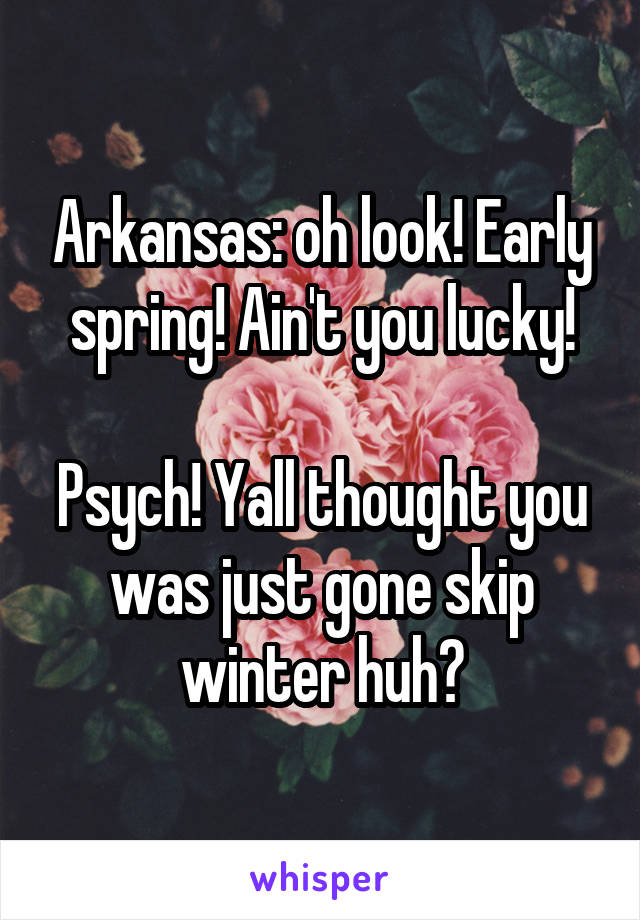 Arkansas: oh look! Early spring! Ain't you lucky!  Psych! Yall thought you was just gone skip winter huh?