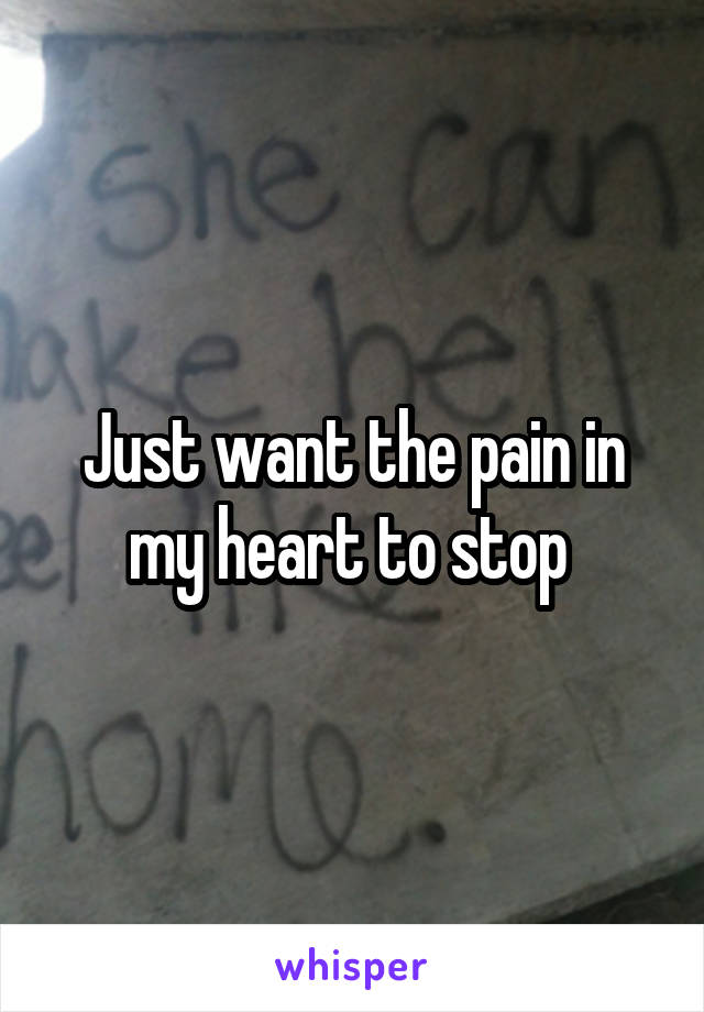 Just want the pain in my heart to stop
