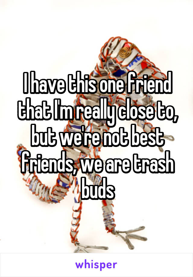 I have this one friend that I'm really close to, but we're not best friends, we are trash buds