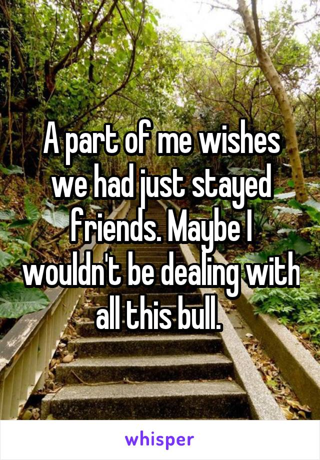 A part of me wishes we had just stayed friends. Maybe I wouldn't be dealing with all this bull.