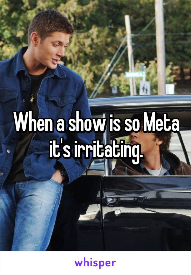 When a show is so Meta it's irritating.