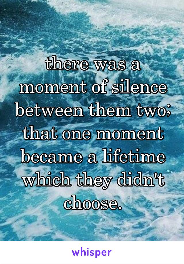 there was a moment of silence between them two; that one moment became a lifetime which they didn't choose.