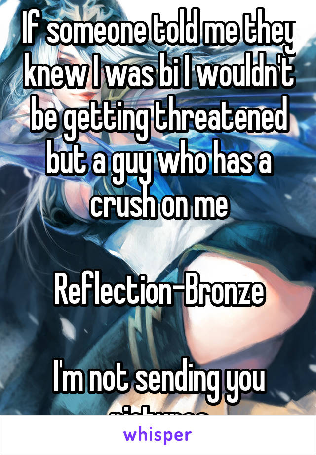 If someone told me they knew I was bi I wouldn't be getting threatened but a guy who has a crush on me  Reflection-Bronze  I'm not sending you pictures