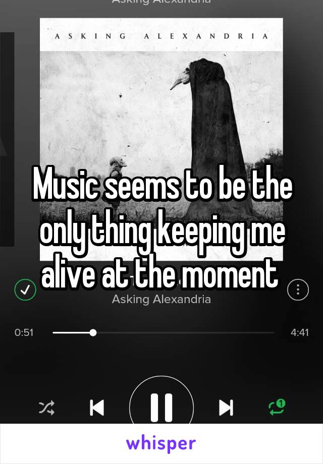 Music seems to be the only thing keeping me alive at the moment