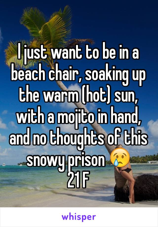 I just want to be in a beach chair, soaking up the warm (hot) sun, with a mojito in hand, and no thoughts of this snowy prison 😢 21 F