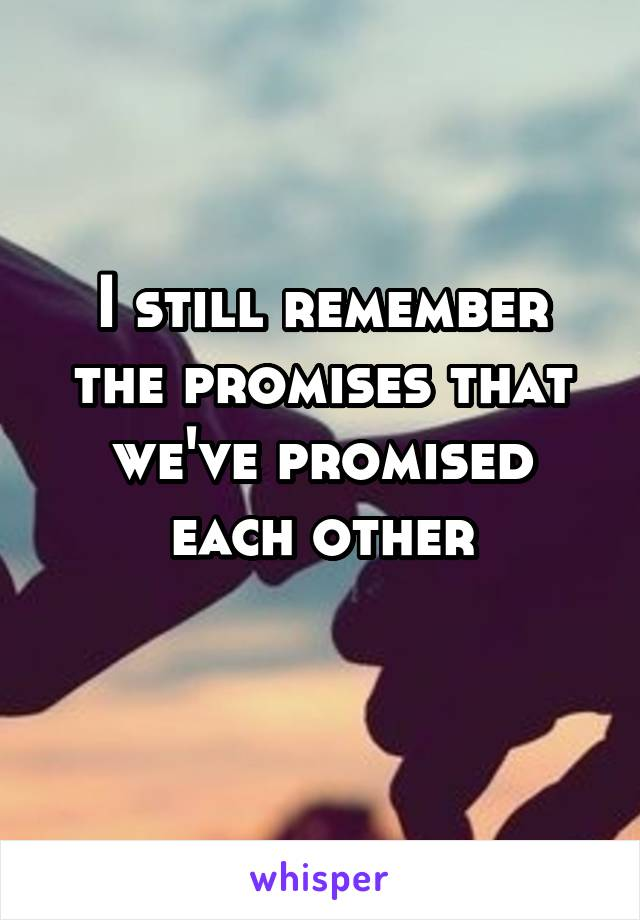 I still remember the promises that we've promised each other