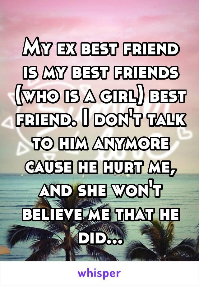 My ex best friend is my best friends (who is a girl) best friend. I don't talk to him anymore cause he hurt me, and she won't believe me that he did...
