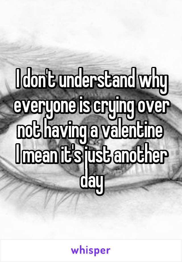 I don't understand why everyone is crying over not having a valentine  I mean it's just another day