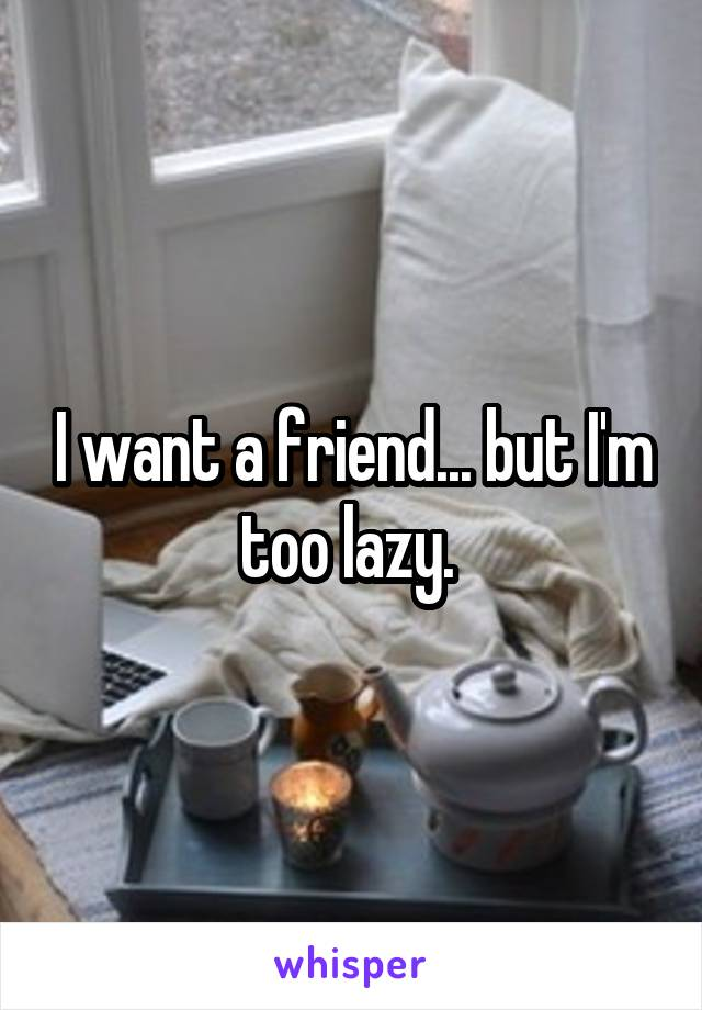 I want a friend... but I'm too lazy.