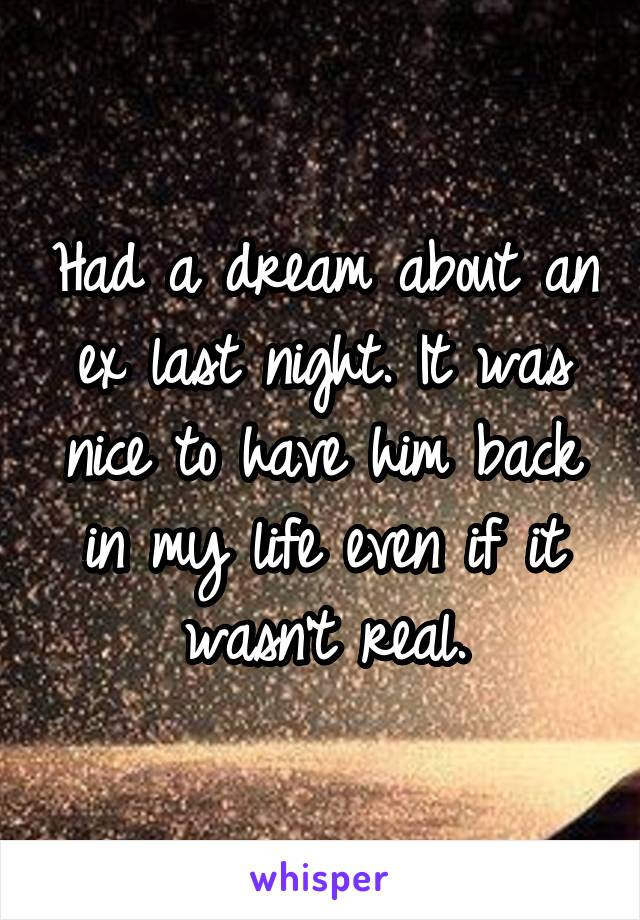 Had a dream about an ex last night. It was nice to have him back in my life even if it wasn't real.
