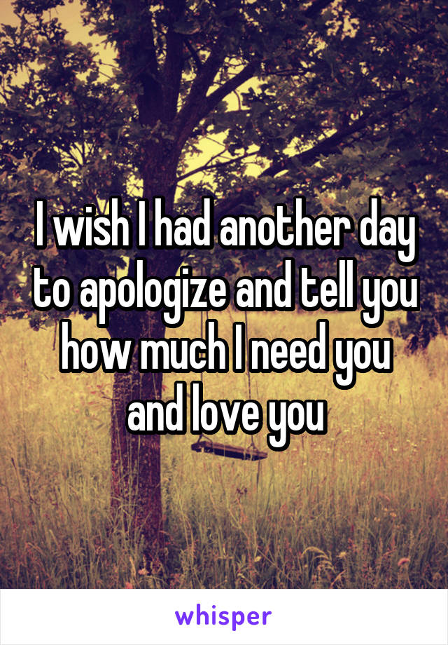 I wish I had another day to apologize and tell you how much I need you and love you