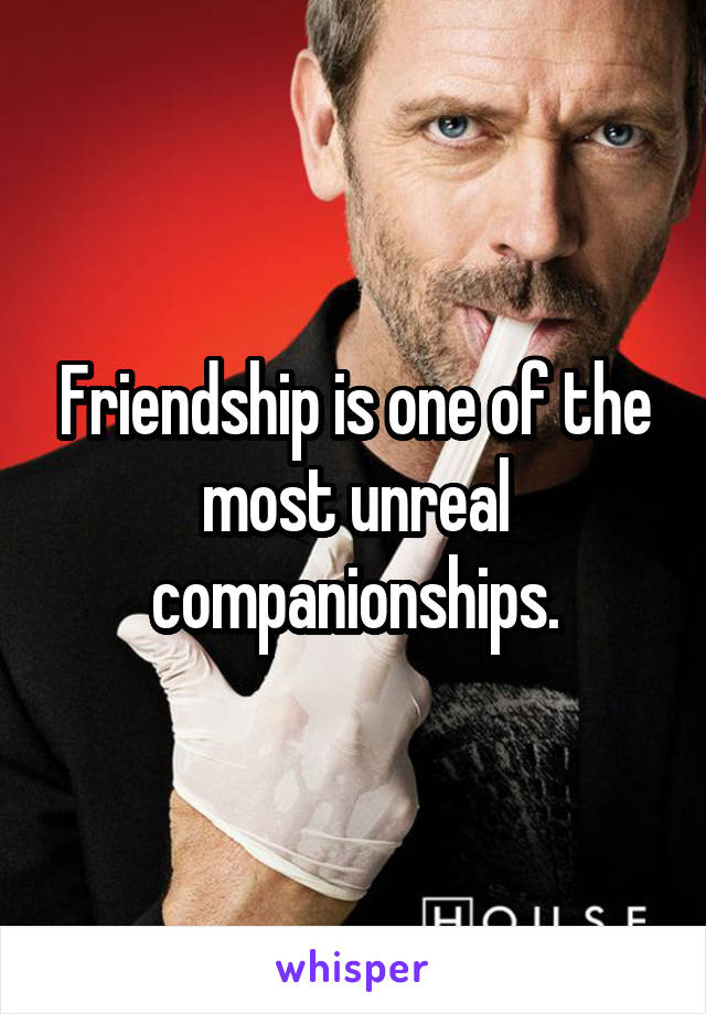 Friendship is one of the most unreal companionships.
