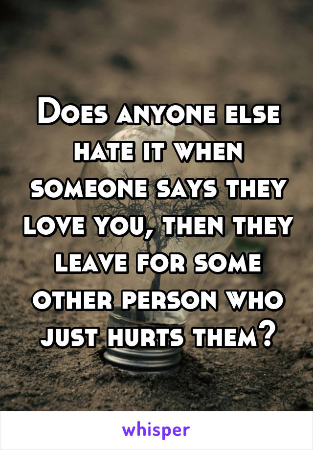 Does anyone else hate it when someone says they love you, then they leave for some other person who just hurts them?