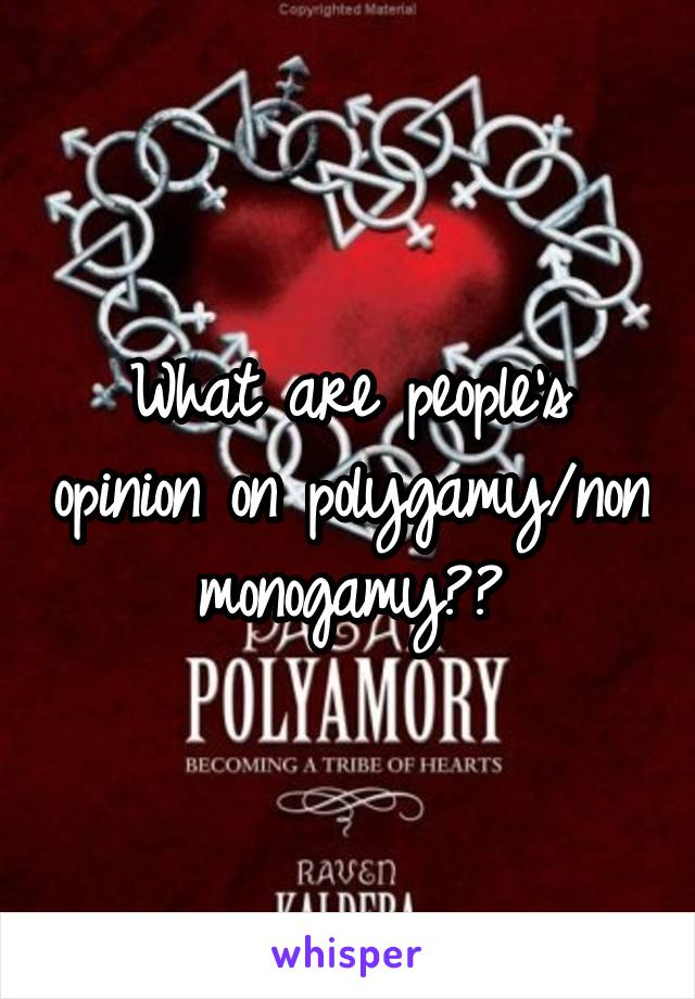 What are people's opinion on polygamy/non monogamy??