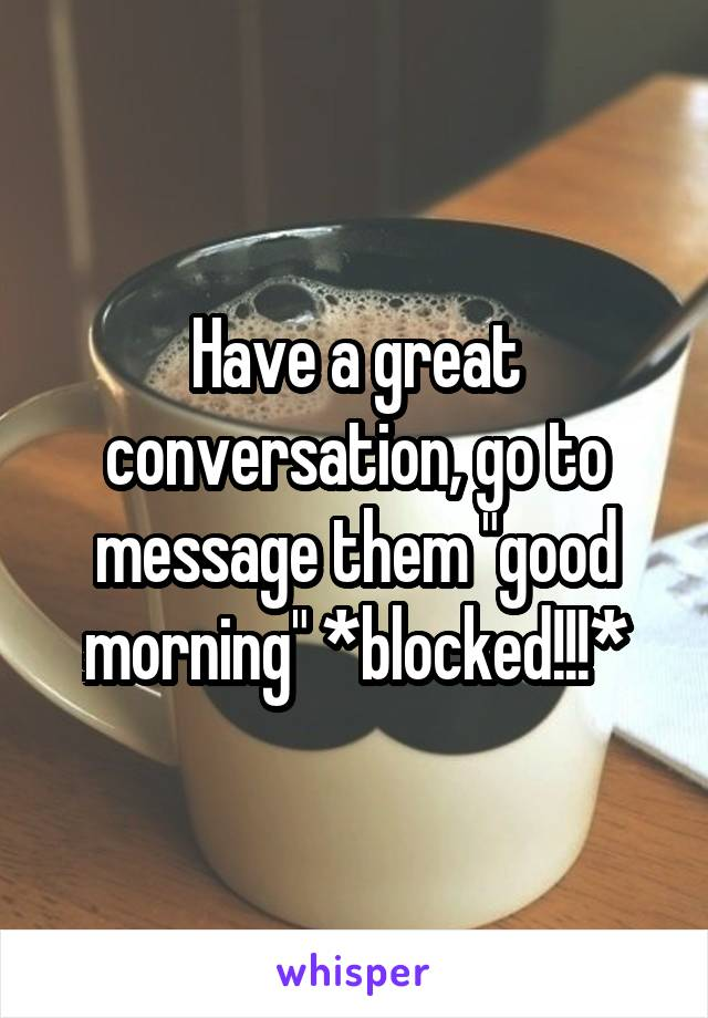 """Have a great conversation, go to message them """"good morning"""" *blocked!!!*"""