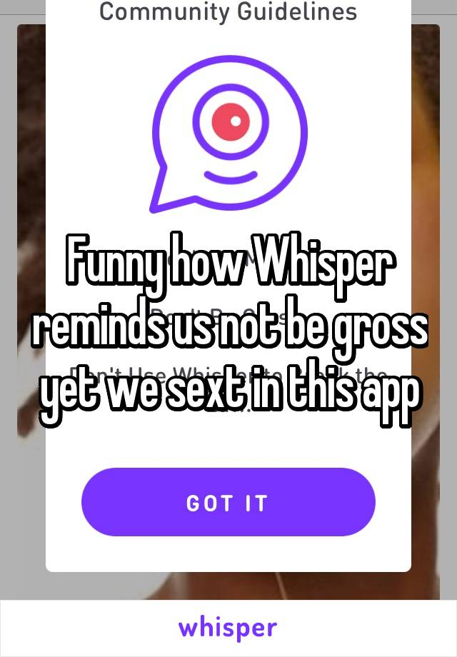 Funny how Whisper reminds us not be gross yet we sext in this app