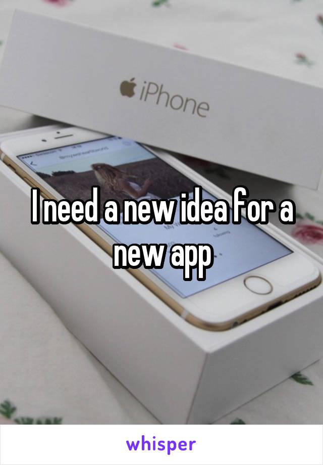 I need a new idea for a new app