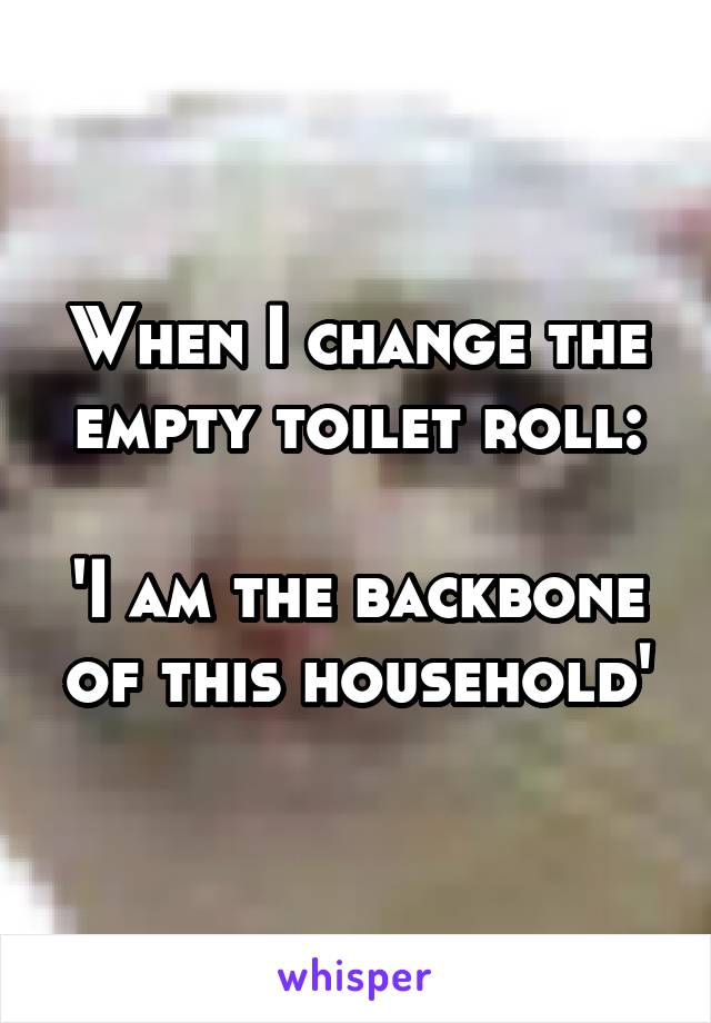 When I change the empty toilet roll:  'I am the backbone of this household'