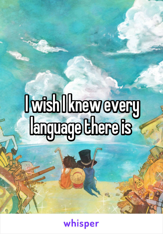 I wish I knew every language there is