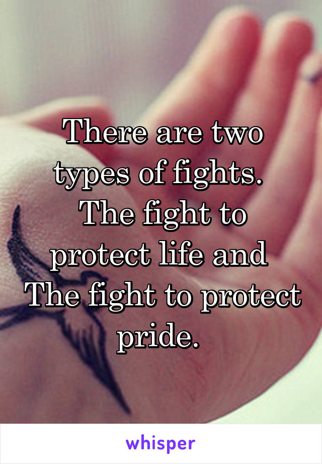 There are two types of fights.  The fight to protect life and  The fight to protect pride.