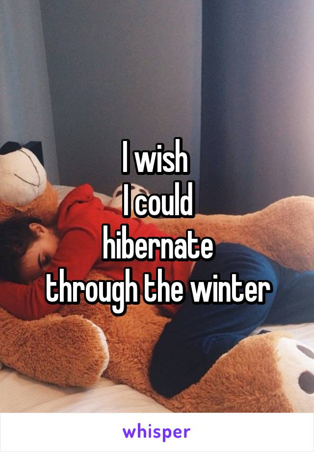 I wish  I could hibernate through the winter