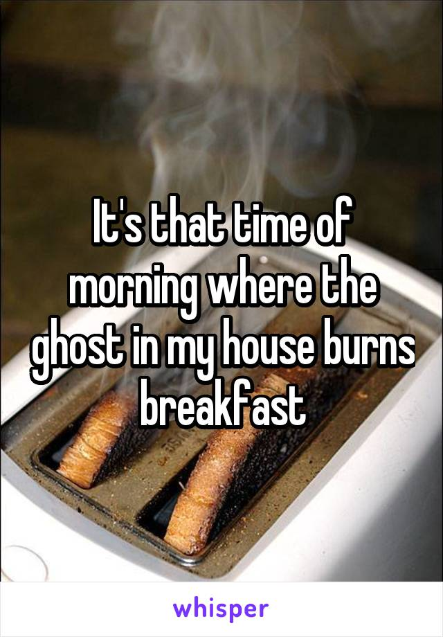 It's that time of morning where the ghost in my house burns breakfast