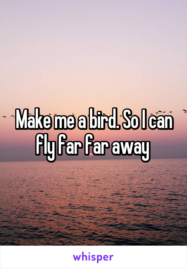 Make me a bird. So I can fly far far away