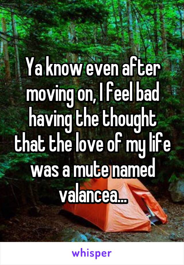Ya know even after moving on, I feel bad having the thought that the love of my life was a mute named valancea...