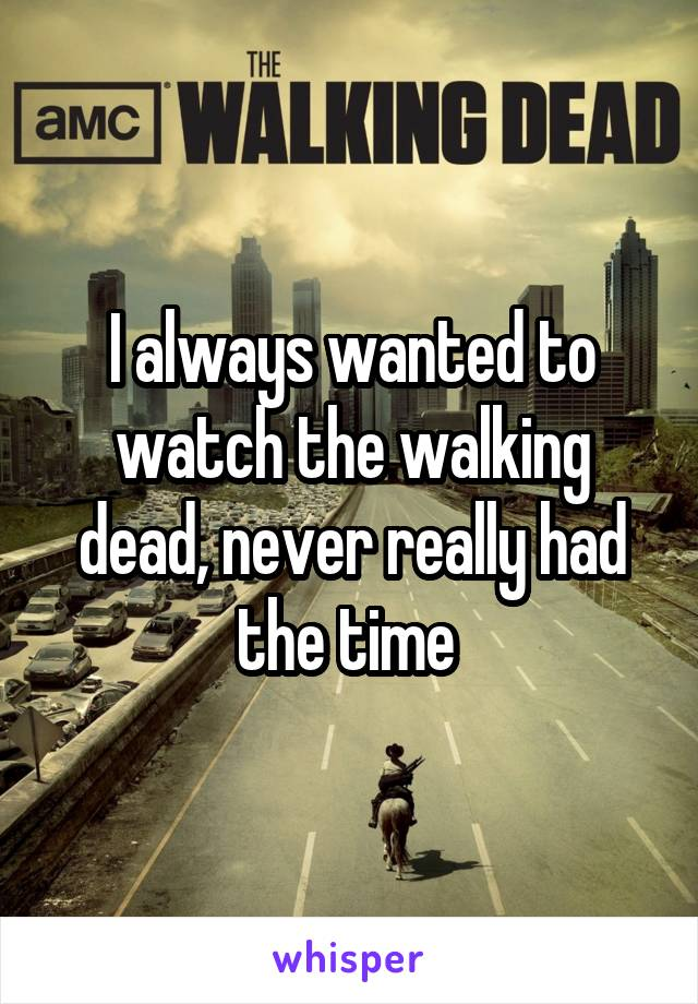 I always wanted to watch the walking dead, never really had the time