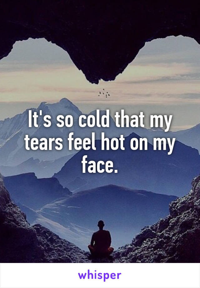 It's so cold that my tears feel hot on my face.