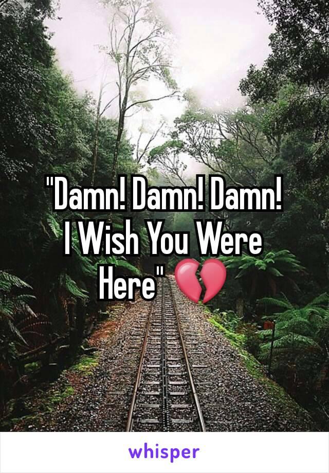 """""""Damn! Damn! Damn! I Wish You Were Here"""" 💔"""