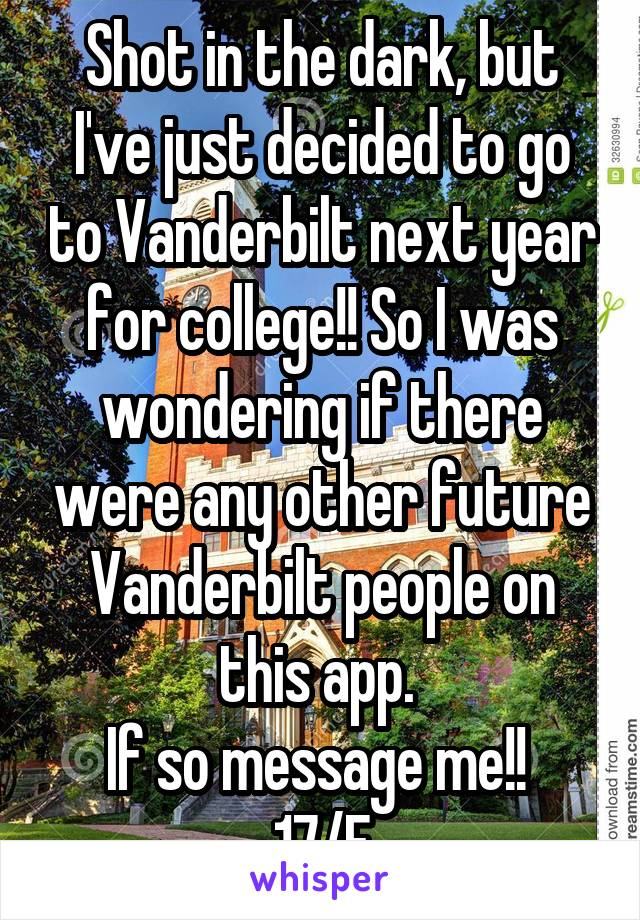 Shot in the dark, but I've just decided to go to Vanderbilt next year for college!! So I was wondering if there were any other future Vanderbilt people on this app.  If so message me!!  17/F