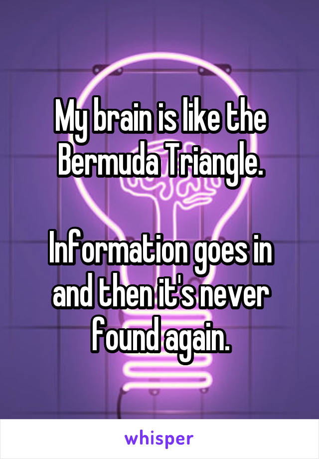 My brain is like the Bermuda Triangle.  Information goes in and then it's never found again.