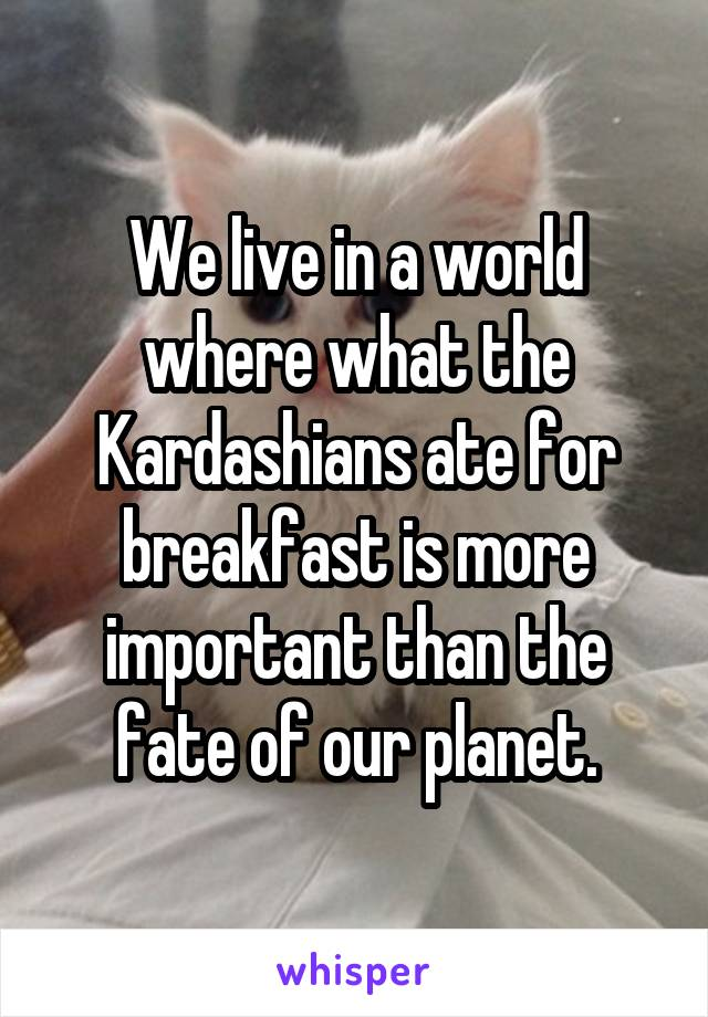 We live in a world where what the Kardashians ate for breakfast is more important than the fate of our planet.