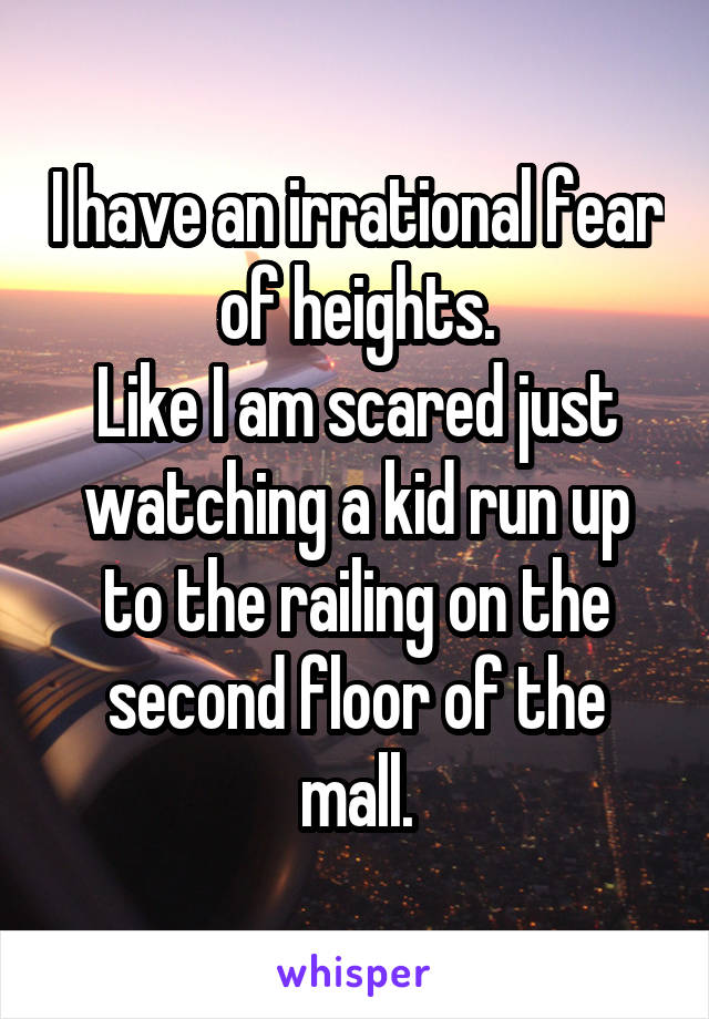 I have an irrational fear of heights. Like I am scared just watching a kid run up to the railing on the second floor of the mall.
