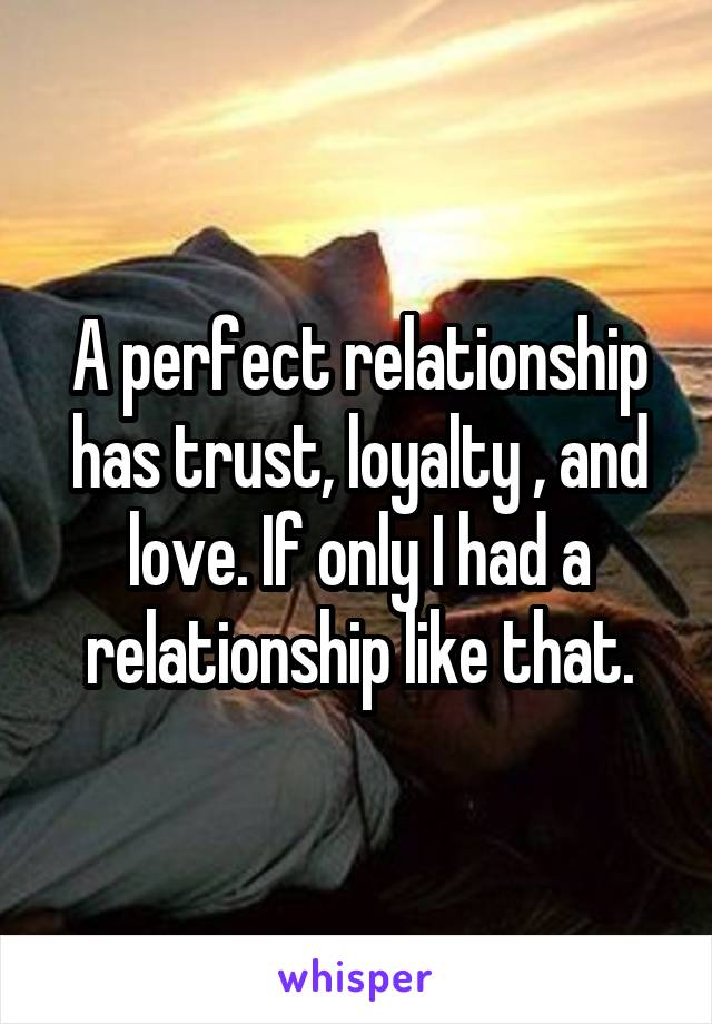 A perfect relationship has trust, loyalty , and love. If only I had a relationship like that.