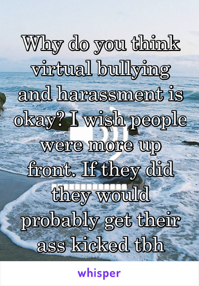 Why do you think virtual bullying and harassment is okay? I wish people were more up front. If they did they would probably get their ass kicked tbh