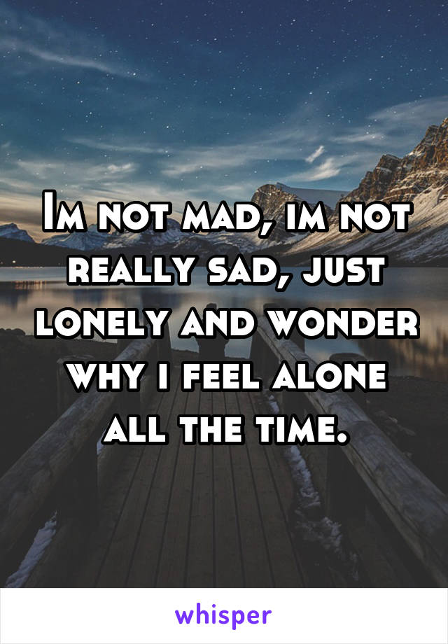 Im not mad, im not really sad, just lonely and wonder why i feel alone all the time.