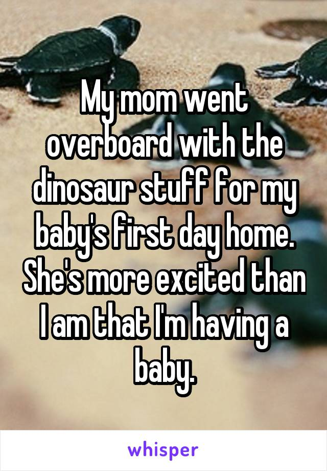 My mom went overboard with the dinosaur stuff for my baby's first day home. She's more excited than I am that I'm having a baby.