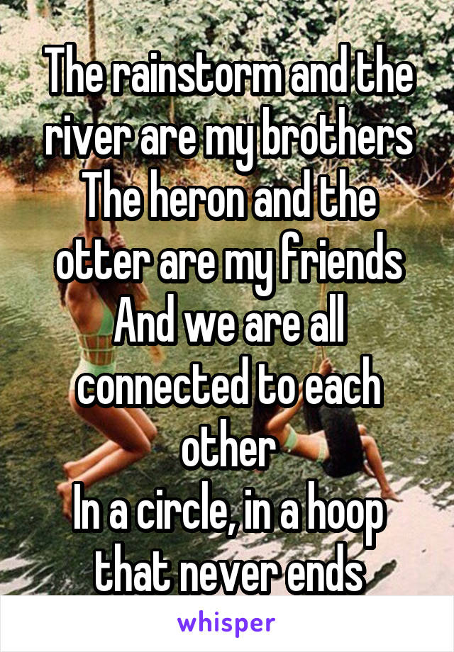 The rainstorm and the river are my brothers The heron and the otter are my friends And we are all connected to each other In a circle, in a hoop that never ends