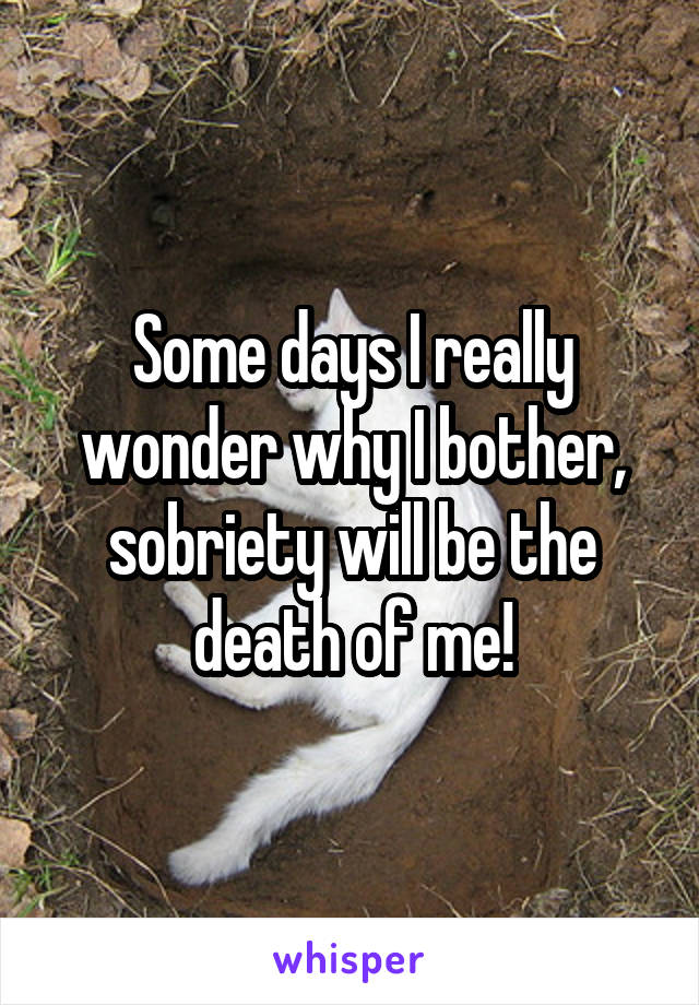 Some days I really wonder why I bother, sobriety will be the death of me!
