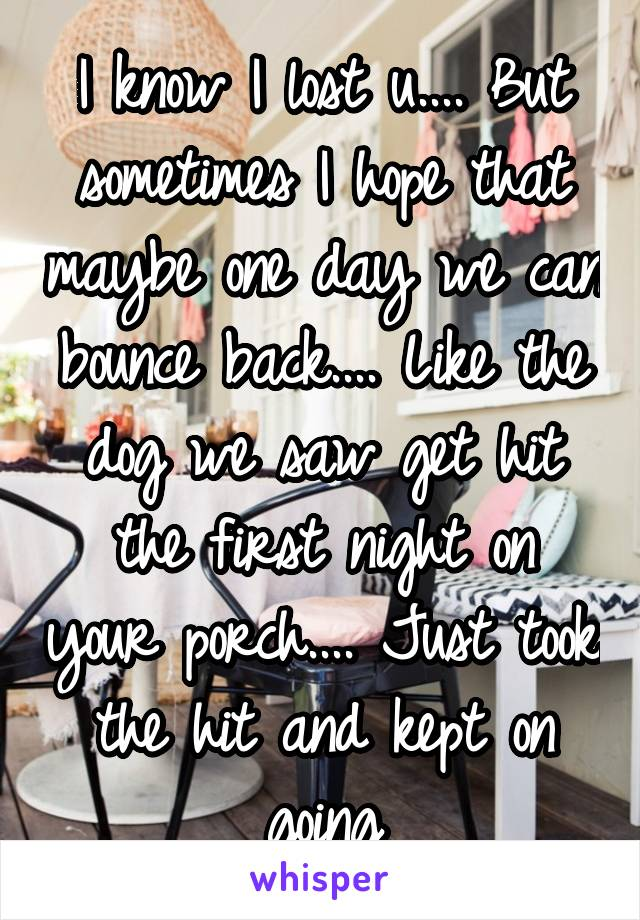I know I lost u.... But sometimes I hope that maybe one day we can bounce back.... Like the dog we saw get hit the first night on your porch.... Just took the hit and kept on going