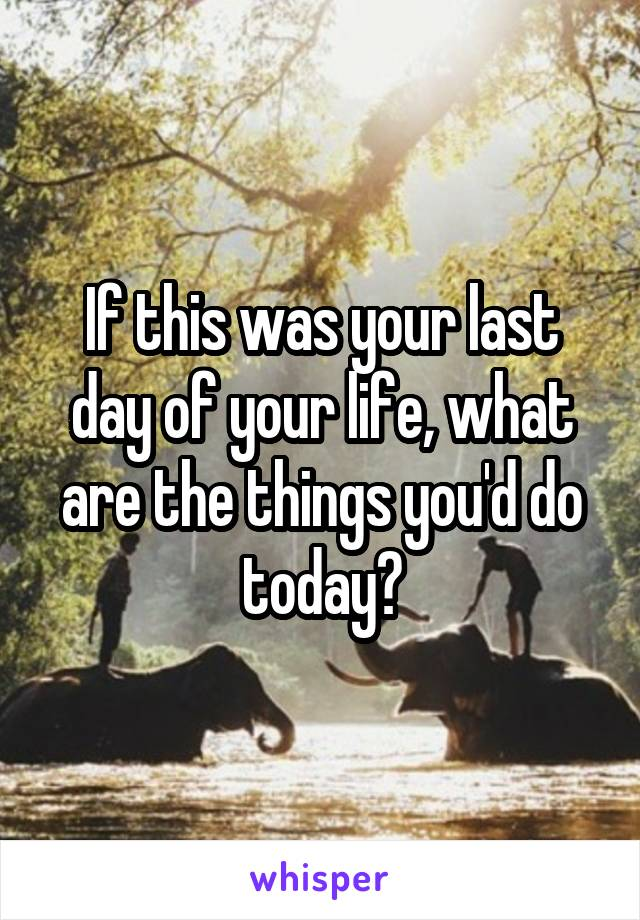 If this was your last day of your life, what are the things you'd do today?