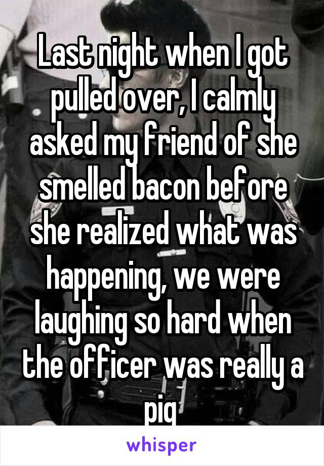 Last night when I got pulled over, I calmly asked my friend of she smelled bacon before she realized what was happening, we were laughing so hard when the officer was really a pig