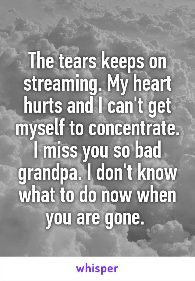 The tears keeps on streaming. My heart hurts and I can't get myself to concentrate. I miss you so bad grandpa. I don't know what to do now when you are gone.