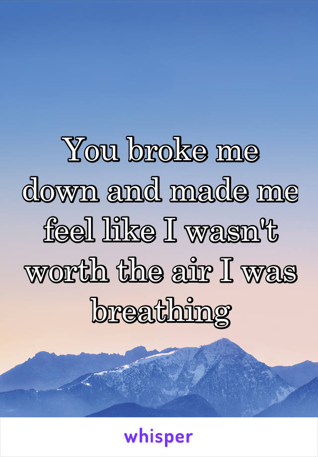 You broke me down and made me feel like I wasn't worth the air I was breathing