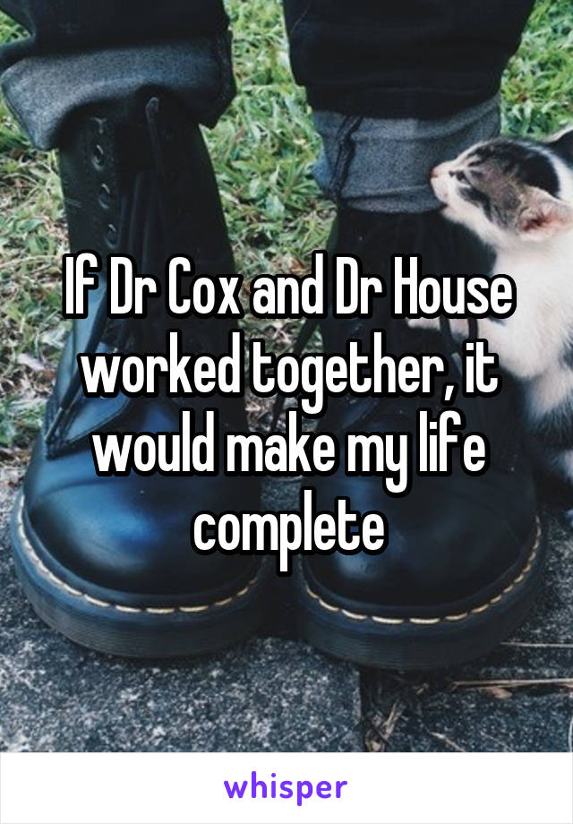 If Dr Cox and Dr House worked together, it would make my life complete