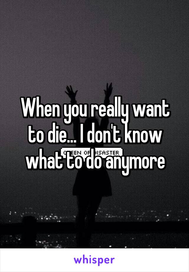 When you really want to die... I don't know what to do anymore