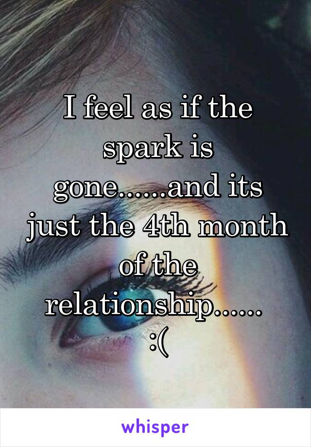 I feel as if the spark is gone......and its just the 4th month of the relationship......  :(