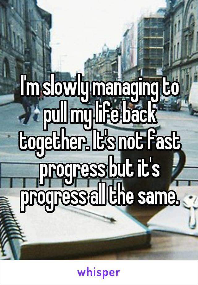 I'm slowly managing to pull my life back together. It's not fast progress but it's progress all the same.